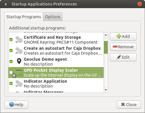 Disabling the UMPC Pocket Display Scaler via Startup Applications Preferences