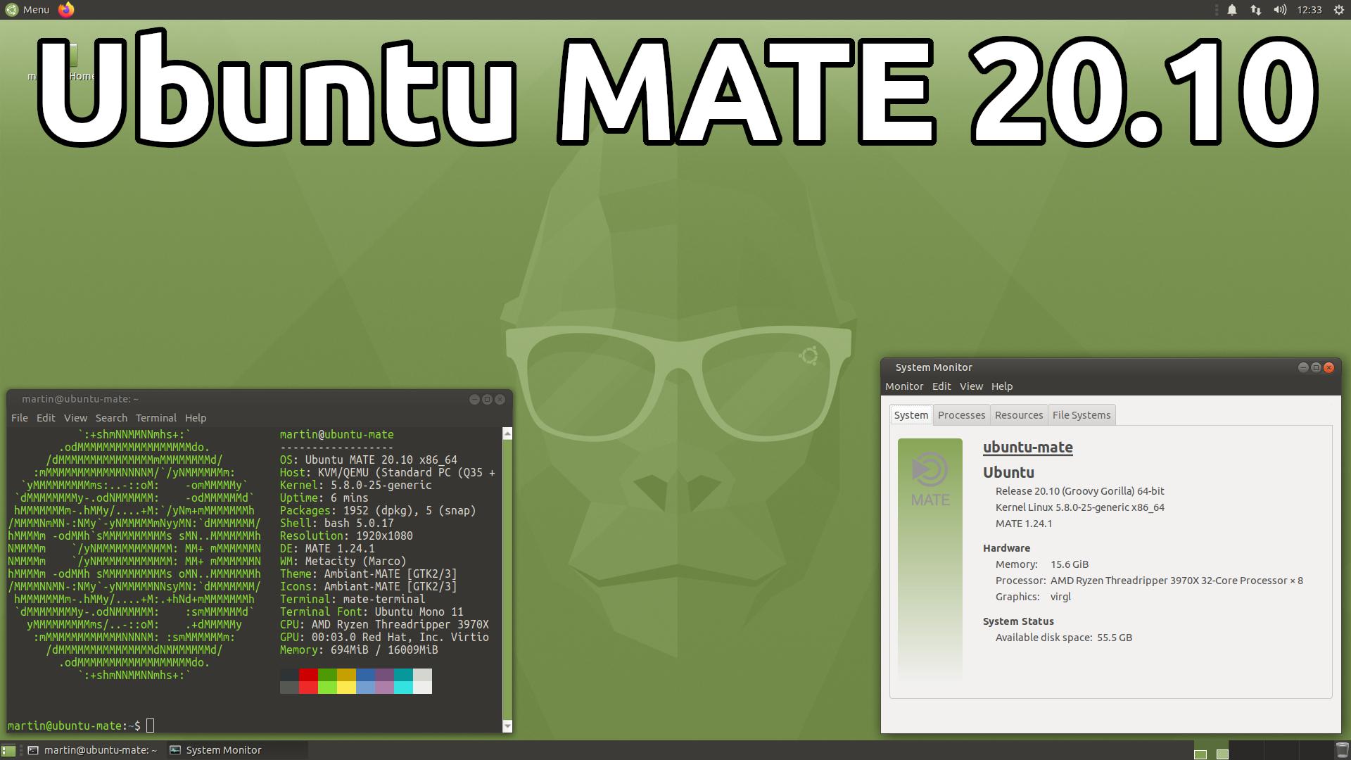 Ubuntu MATE 20.10 (Groovy Gorilla)