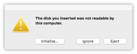 Screenshot of Mac's unreadable disk message