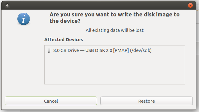Screenshot of GNOME Disks confirming action