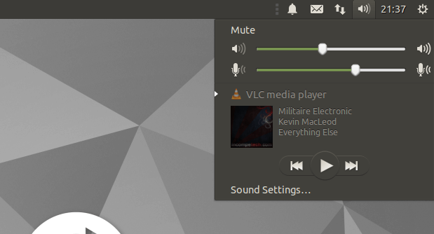 Screenshot of sound indicator